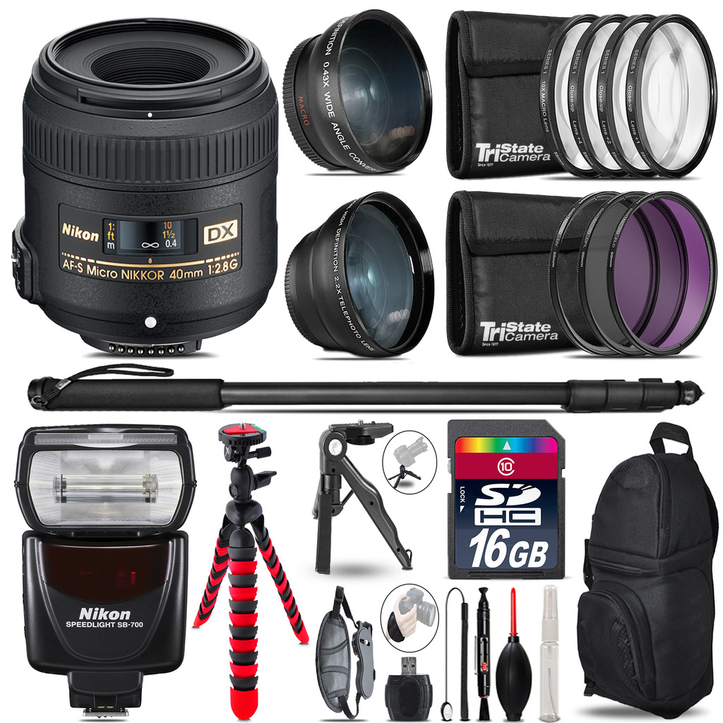 Nikon AFS 40mm 2.8 + SB-700 AF Speedlight - 3 Lens Kit - 16GB Accessory Kit *FREE SHIPPING*