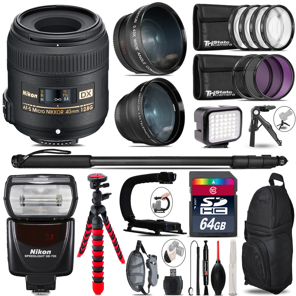 Nikon AFS 40mm 2.8 + SB-700 AF Speedlight - LED LIGHT - 64GB Accessory Kit *FREE SHIPPING*