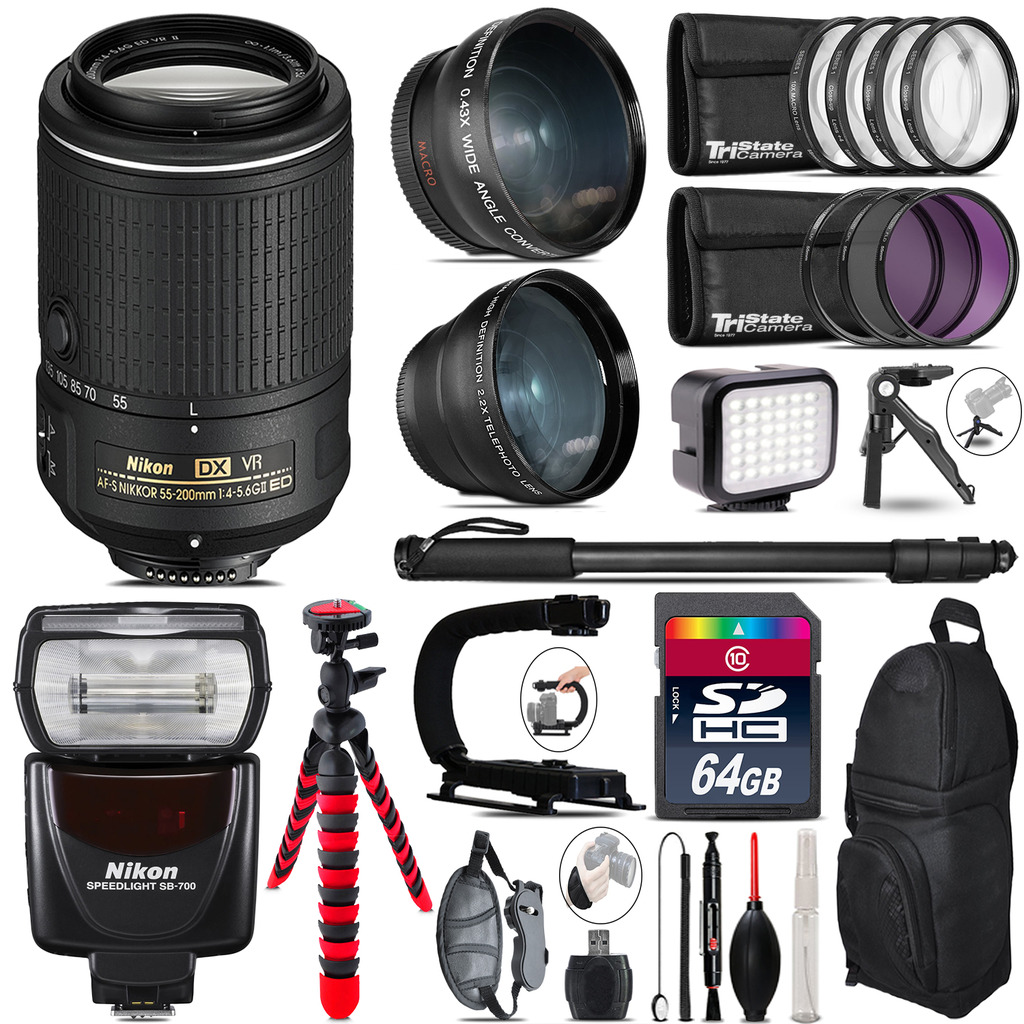 Nikon 55-200mm VR + SB-700 AF Speedlight - LED LIGHT - 64GB Accessory Kit *FREE SHIPPING*