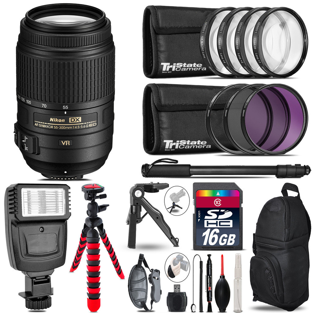 Nikon DX 55-300mm VR+ Slave Flash + MACRO, UV-CPL-FLD - 16GB Accessory Bundle *FREE SHIPPING*