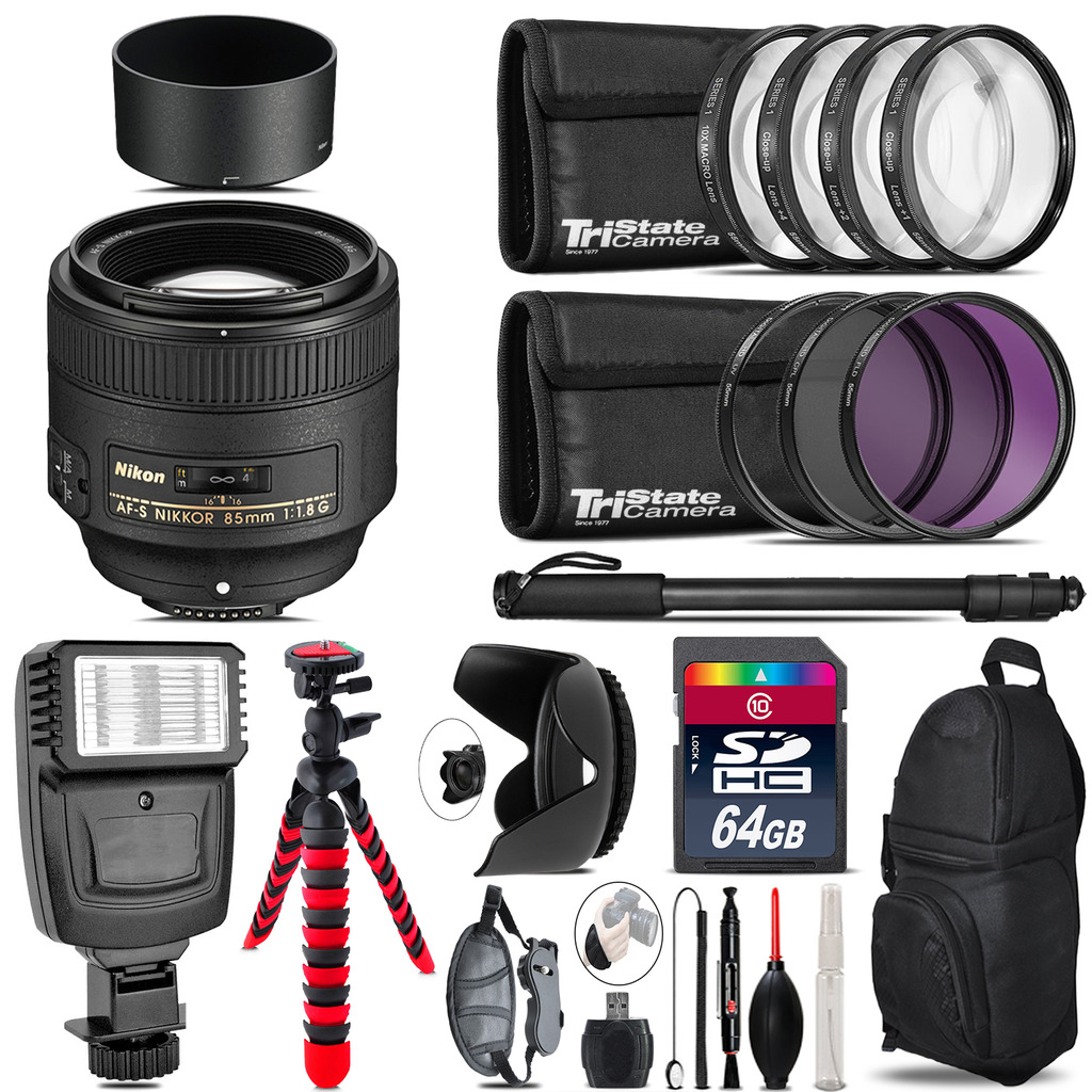 Nikon AF-S 85mm f/1.8G Lens + Flash +  Tripod & More - 64GB Accessory Kit *FREE SHIPPING*