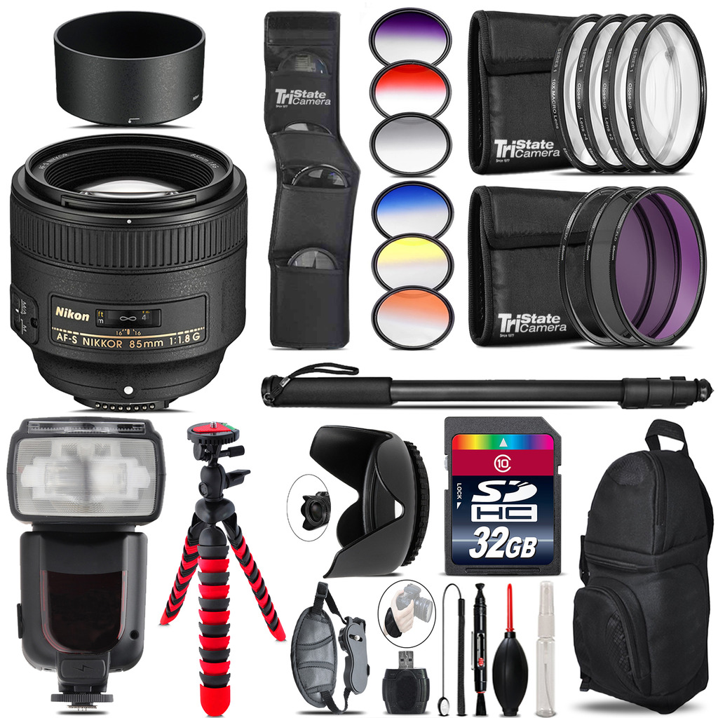 Nikon AF-S 85mm f/1.8G Lens + Pro Flash + Filter Kit - 32GB Accessory Kit *FREE SHIPPING*