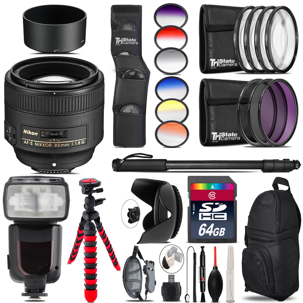 Nikon AF-S 85mm f/1.8G Lens + Pro Flash + Filter Kit - 64GB Accessory Kit *FREE SHIPPING*