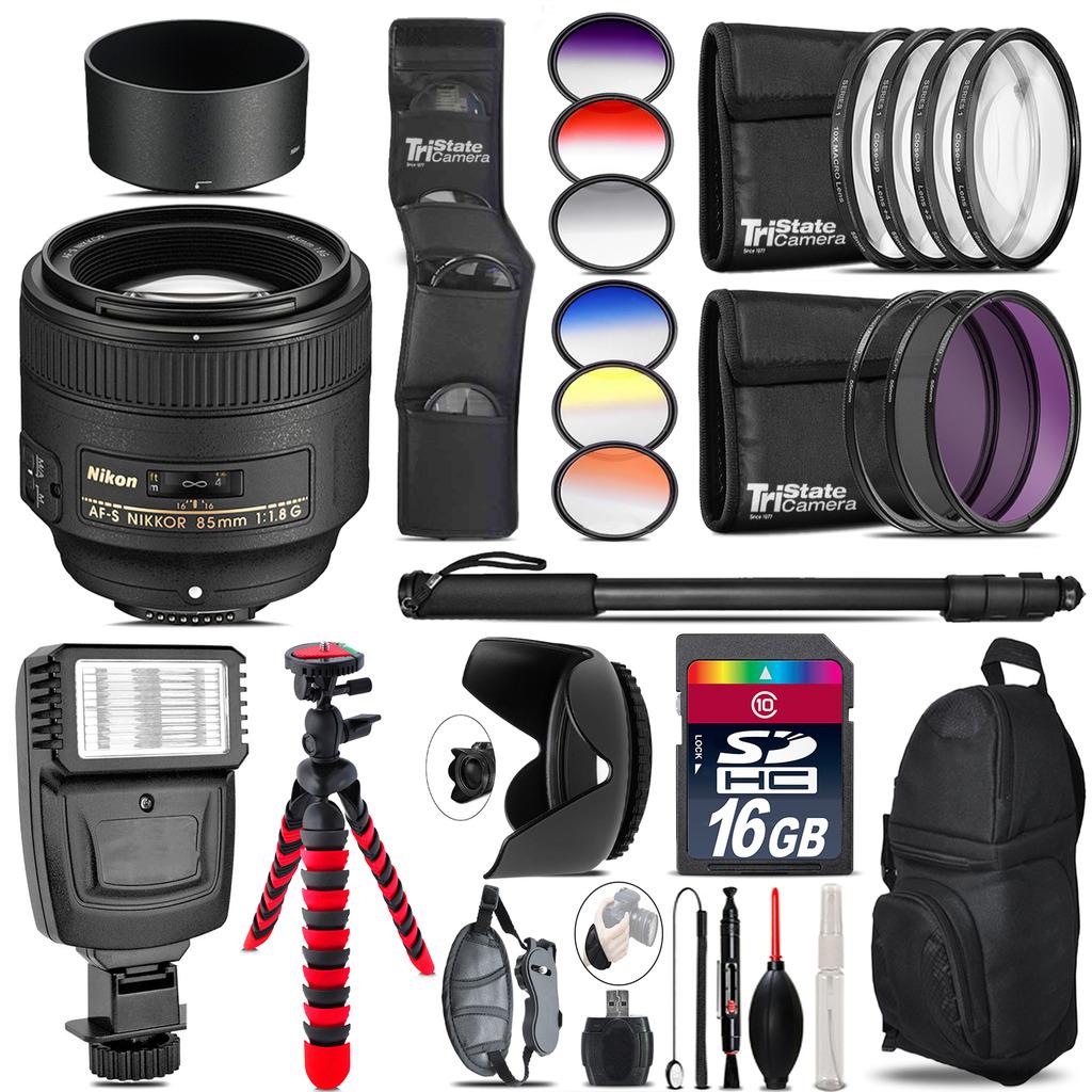 Nikon AF-S 85mm f/1.8G Lens + Flash + Color Filter Set - 16GB Accessory Kit *FREE SHIPPING*