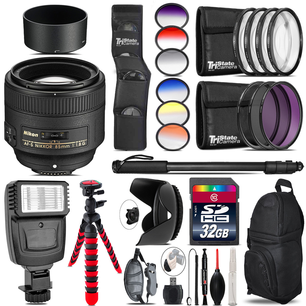 Nikon AF-S 85mm f/1.8G Lens + Flash + Color Filter Set - 32GB Accessory Kit *FREE SHIPPING*