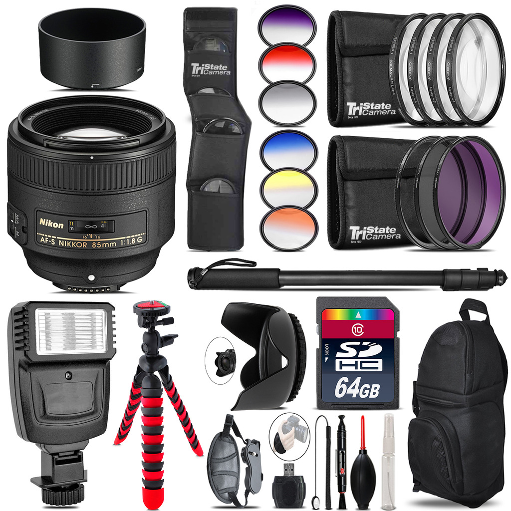 Nikon AF-S 85mm f/1.8G Lens + Flash + Color Filter Set - 64GB Accessory Kit *FREE SHIPPING*