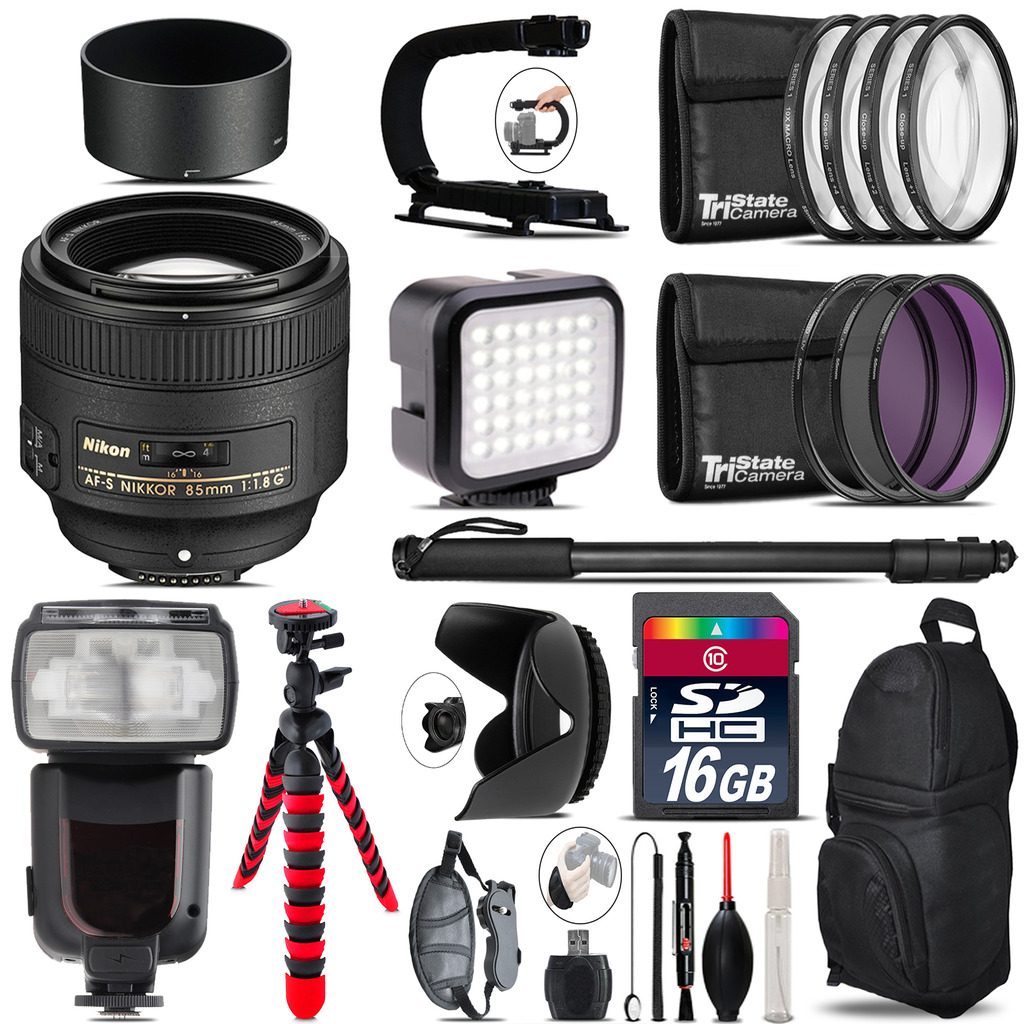 Nikon AF-S 85mm f/1.8G Lens - Video Kit + Pro Flash - 16GB Accessory Bundle *FREE SHIPPING*