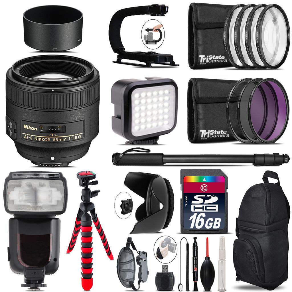 Nikon AF-S 85mm f/1.8G Lens - Video Kit + Pro Flash - 16GB Accessory Bundle *FREE SHIPPING*