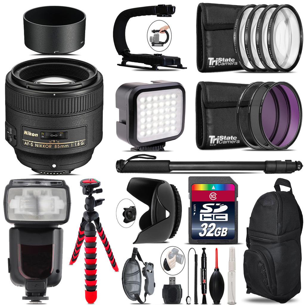 Nikon AF-S 85mm f/1.8G Lens - Video Kit + Pro Flash - 32GB Accessory Bundle *FREE SHIPPING*