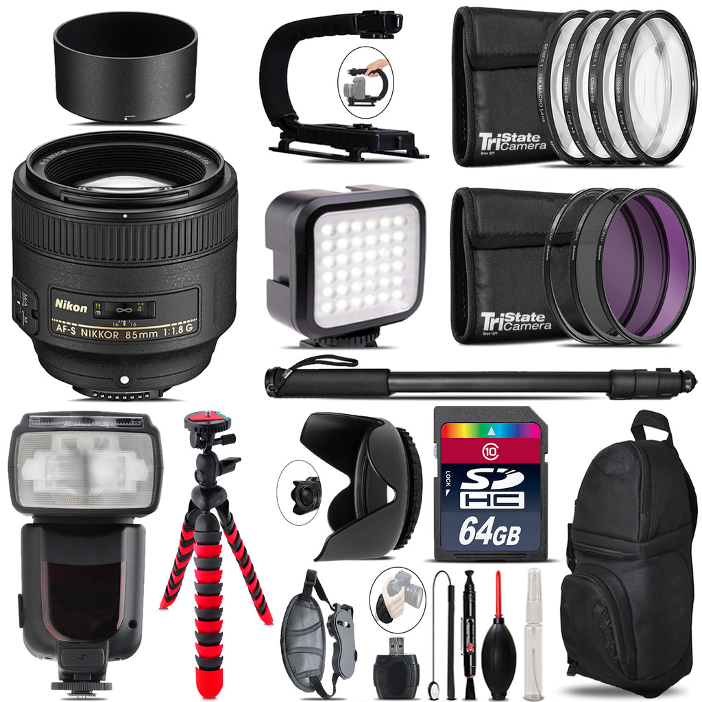 Nikon AF-S 85mm f/1.8G Lens - Video Kit + Pro Flash - 64GB Accessory Bundle *FREE SHIPPING*