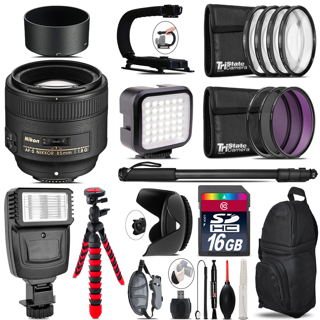 Nikon AF-S 85mm f/1.8G Lens - Video Kit +  Flash - 16GB Accessory Bundle *FREE SHIPPING*
