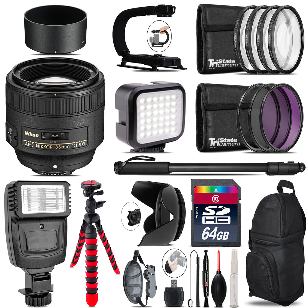 Nikon AF-S 85mm f/1.8G Lens - Video Kit +  Flash - 64GB Accessory Bundle *FREE SHIPPING*