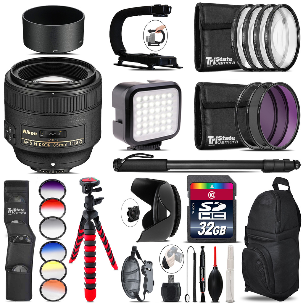Nikon AF-S 85mm f/1.8G Lens - Video Kit + Color Filter - 32GB Accessory Kit *FREE SHIPPING*