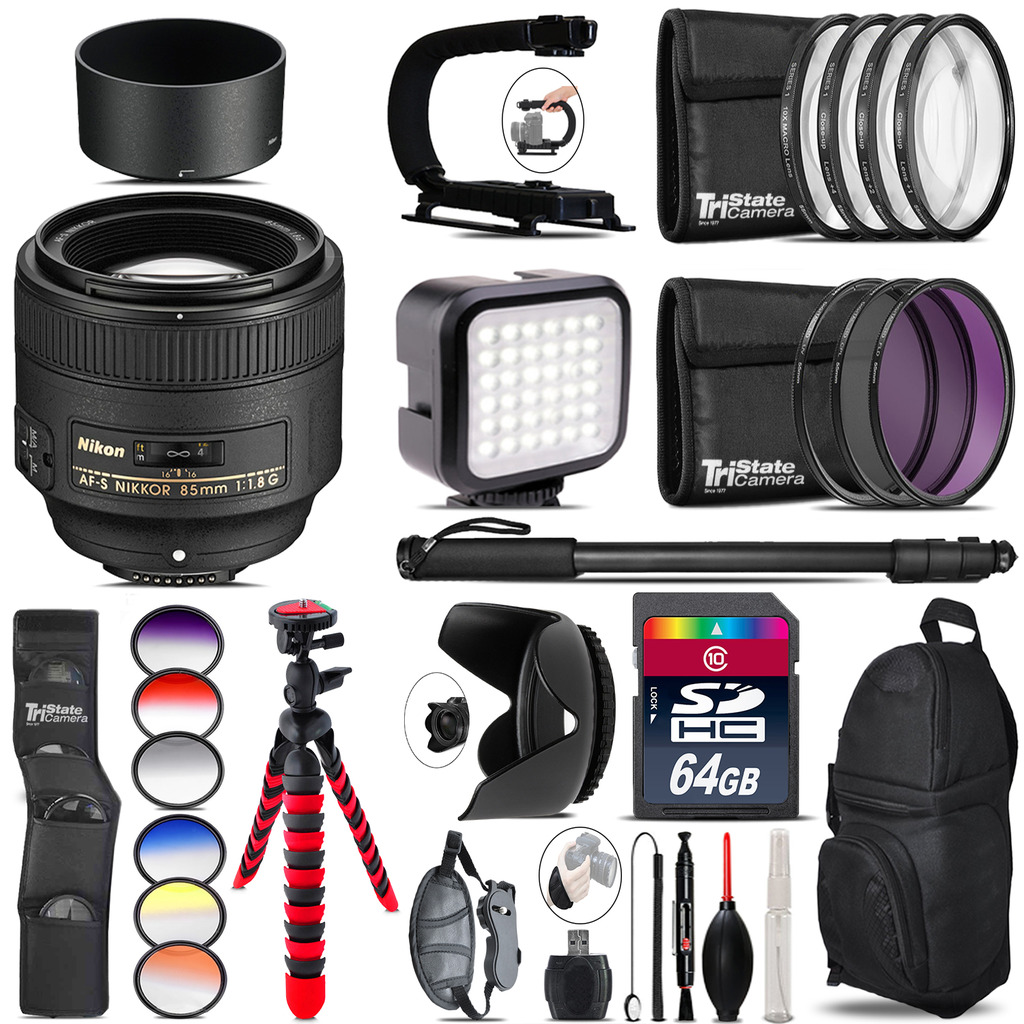 Nikon AF-S 85mm f/1.8G Lens - Video Kit + Color Filter - 64GB Accessory Kit *FREE SHIPPING*
