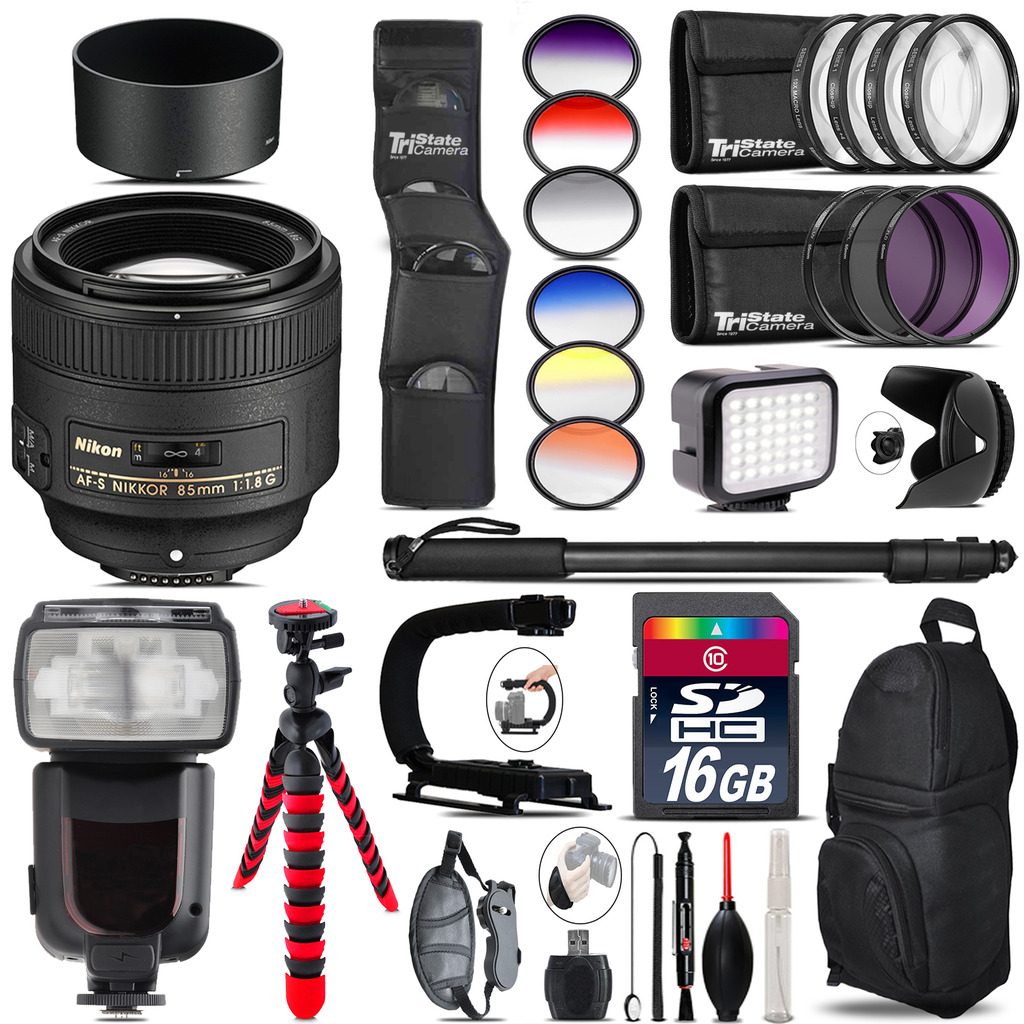 Nikon AF-S 85mm f/1.8G Lens + Pro Flash + LED Light - 16GB Accessory Bundle *FREE SHIPPING*