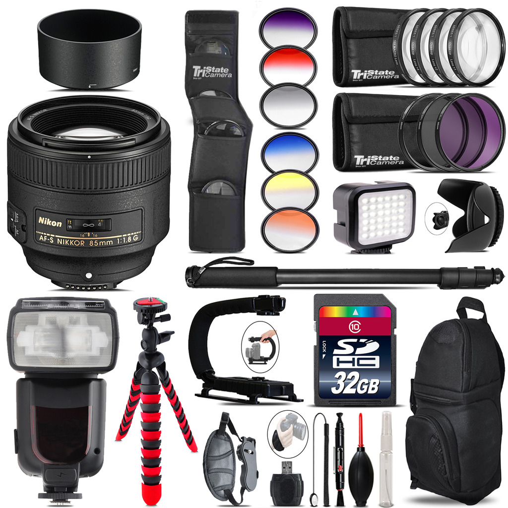 Nikon AF-S 85mm f/1.8G Lens + Pro Flash + LED Light - 32GB Accessory Bundle *FREE SHIPPING*