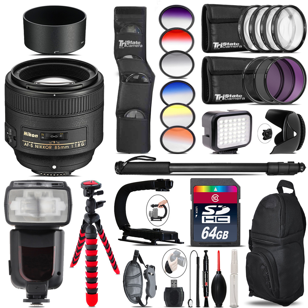Nikon AF-S 85mm f/1.8G Lens + Pro Flash + LED Light - 64GB Accessory Bundle *FREE SHIPPING*