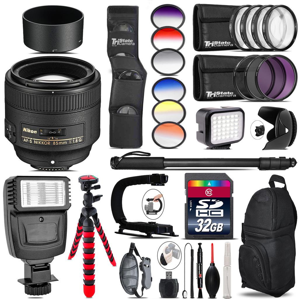 Nikon AF-S 85mm f/1.8G Lens + Color Set + LED Light - 32GB Accessory Bundle *FREE SHIPPING*