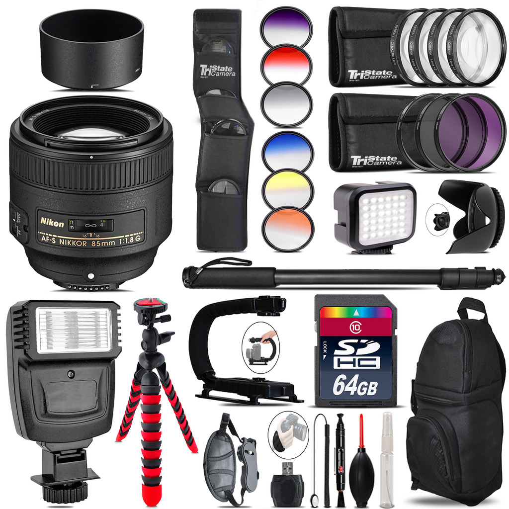 Nikon AF-S 85mm f/1.8G Lens + Color Set + LED Light - 64GB Accessory Bundle *FREE SHIPPING*
