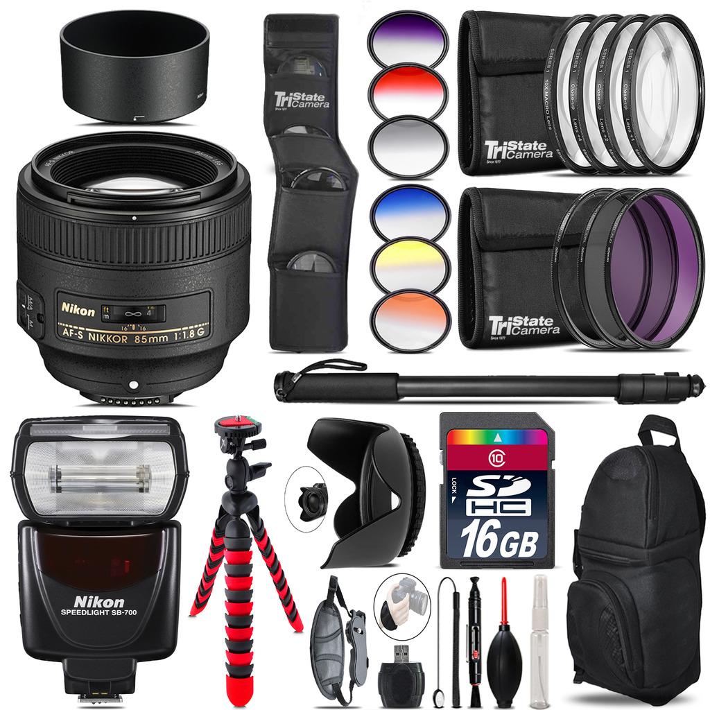 Nikon AF-S 85mm f/1.8G Lens + Nikon SB-700 AF Speedlight - 16GB Accessory Kit *FREE SHIPPING*