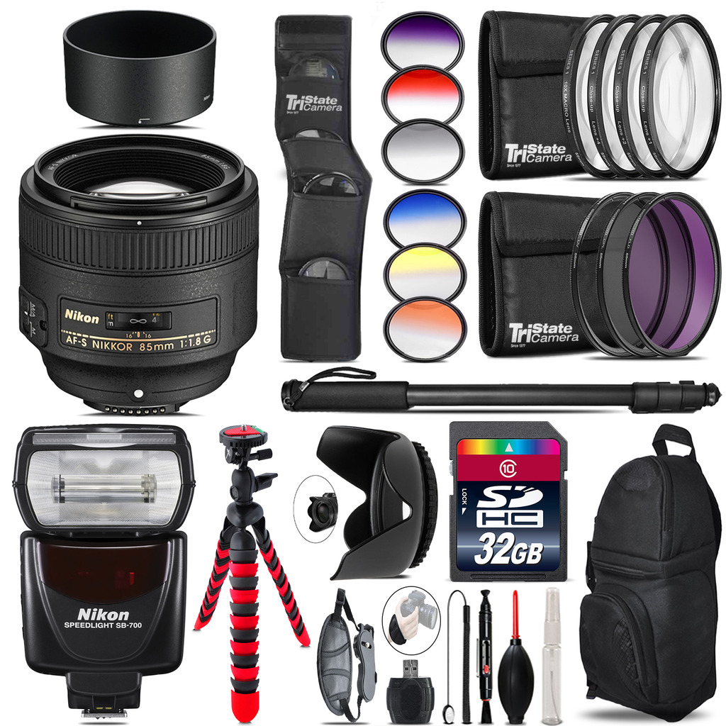 Nikon AF-S 85mm f/1.8G Lens + Nikon SB-700 AF Speedlight - 32GB Accessory Kit *FREE SHIPPING*
