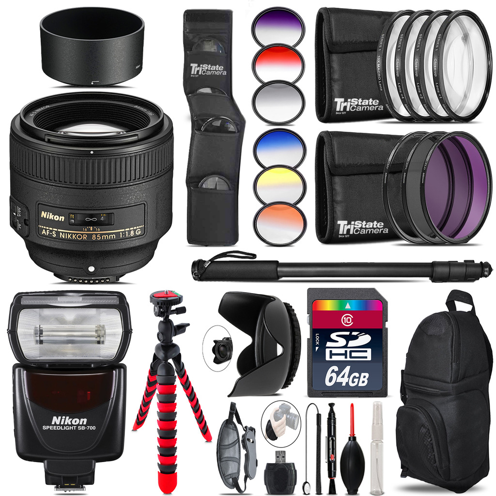Nikon AF-S 85mm f/1.8G Lens + Nikon SB-700 AF Speedlight  - 64GB Accessory Kit *FREE SHIPPING*