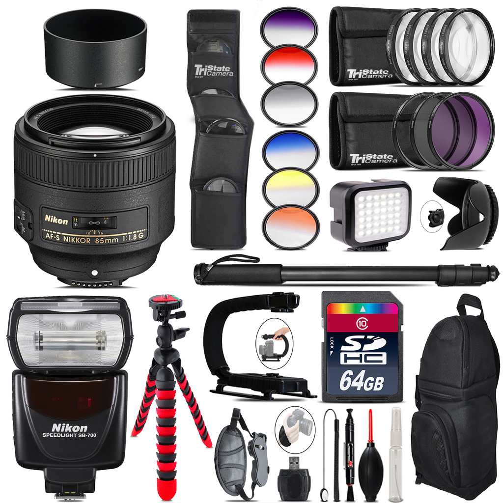 Nikon AF-S 85mm f/1.8G Lens + SB-700 AF Speedlight + LED - 64GB Accessory Kit *FREE SHIPPING*