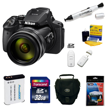 Coolpix P900 Digital SLR Camera Kit + 32GB Memory Card + Spare Battery + Deluxe SLR Carrying Case + Memory Card Reader + Camera/Lens Cleaning Kit + Pen Style LCD Screen Cleaner + LCD Screen Protectors *FREE SHIPPING*