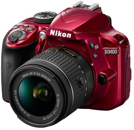 D3400 24.2 Megapixel, Full HD Video DSLR W/AF-P 18-55mm VR G Zoom Lens Kit - Red *FREE SHIPPING*