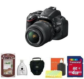 D5100 igital SLR Camera with AF-S 18-55mm VR Zoom Lens Kit • 4GB Memory Card• Camera/Lens Cleaning Kit• LCD Screen Protectors• Memory Card Reader• Deluxe SLR Carrying Case *FREE SHIPPING*
