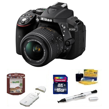 D5300 w/18-55mm Digital SLR Camera Kit +16GB + Memory Card+ Camera/Lens Cleaning Kit+ LCD Screen Protectors+ Memory Card Reader+ Deluxe SLR Carrying Case *FREE SHIPPING*