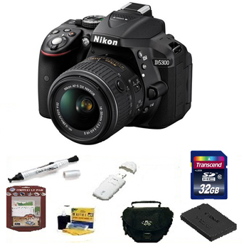 D5300 w/18-55mm DSLR Camera W/18-55mm  Lens Kit - Black • 32GB Memory Card• Camera/Lens Cleaning Kit• LCD Screen Protectors• Memory Card Reader• Deluxe SLR Carrying Case• Pen LCD Screen Cleaner• Replacement Battery Deluxe Kit - Black *FREE SHIPPING*