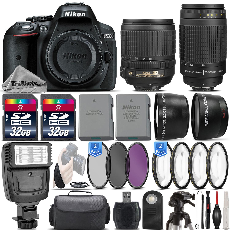 D5300 24.2MP DSLR Camera + 18-105mm VR Lens + Nikon 70-300mm - 64GB Kit *FREE SHIPPING*