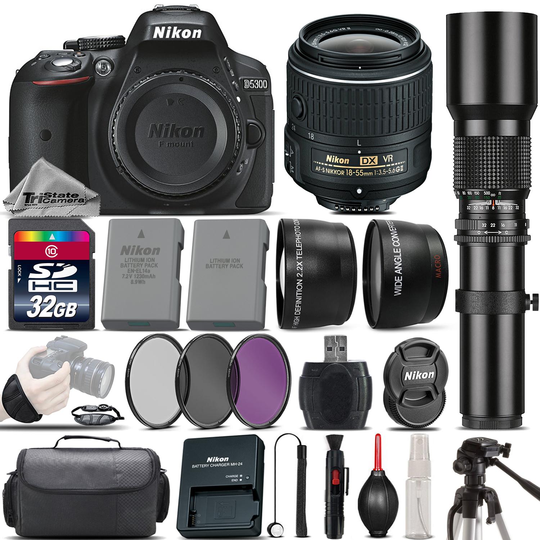 D5300 DSLR Camera + Nikon 18-55mm VR II Lens + 500mm Telephoto - 32GB Kit *FREE SHIPPING*