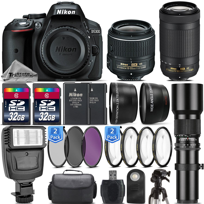 Nikon D5300 Dslr Camera 18 55mm Vr Ii 70 300mm Kit Af P
