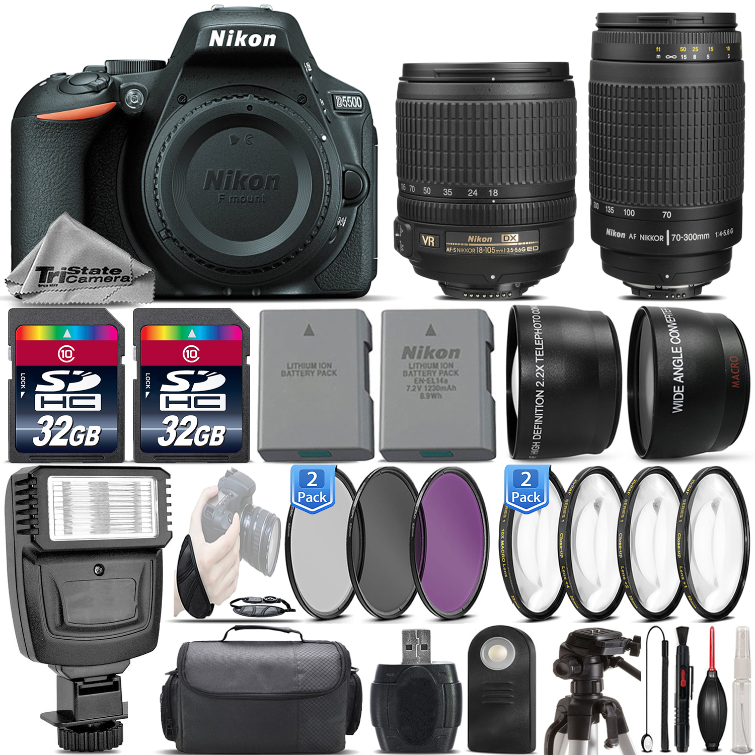 D5500 24.2MP DSLR Camera + 18-105mm VR Lens + Nikon 70-300mm - 64GB Kit *FREE SHIPPING*