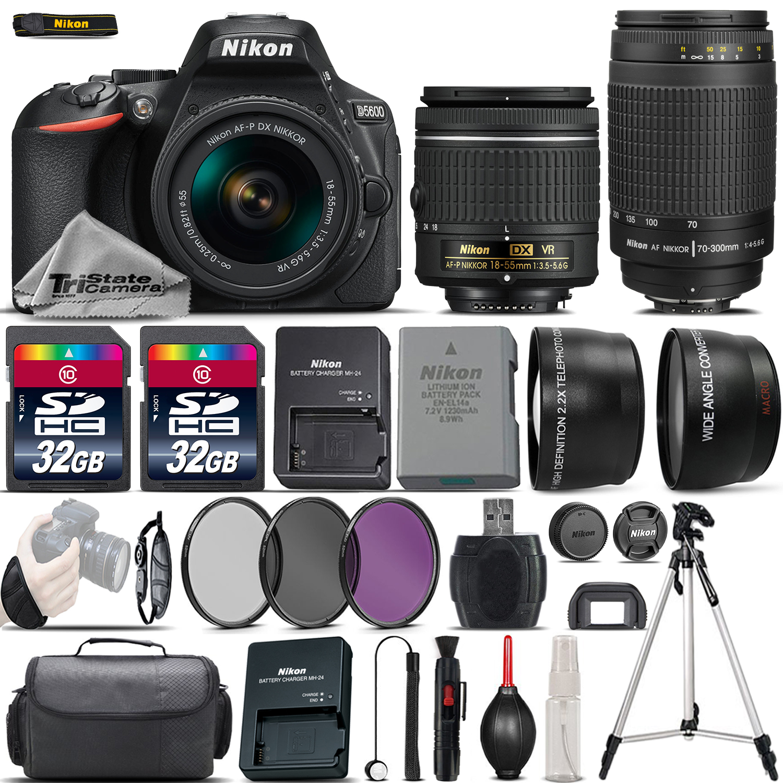 D5600 Digital SLR Camera + 18-55mm VR + Nikon 70-300mm + 64GB - 4 Lens Kit *FREE SHIPPING*