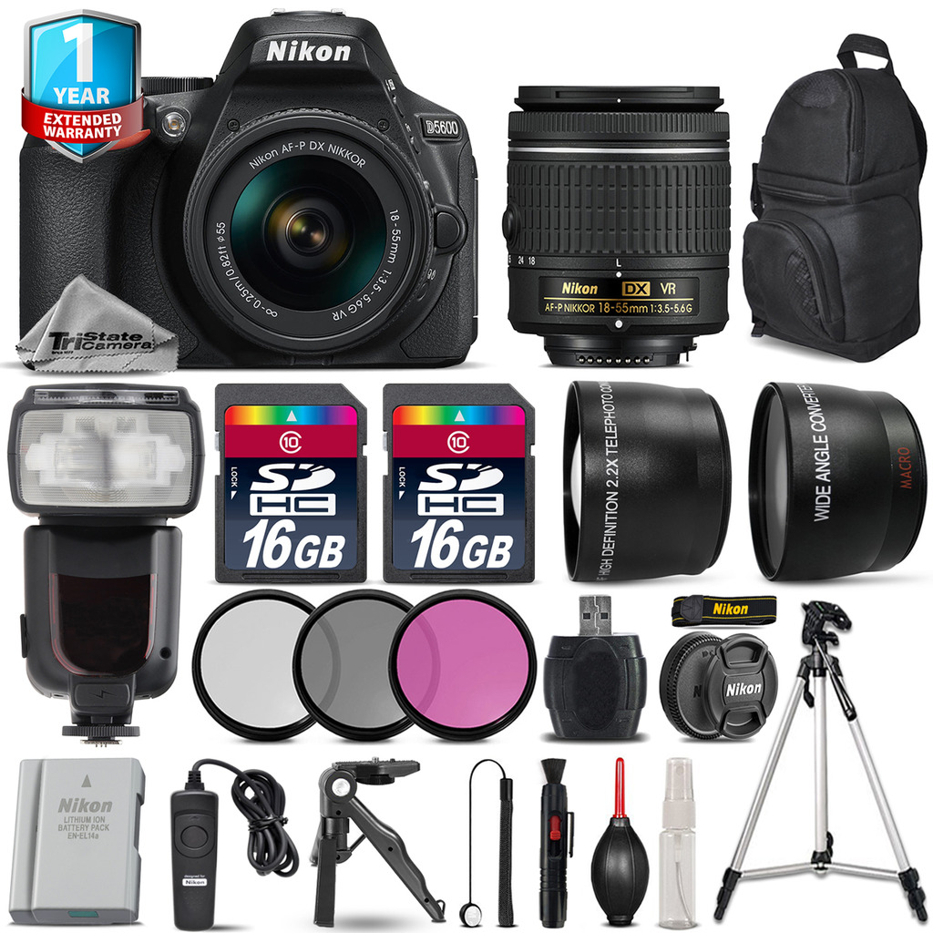 D5600 DSLR Camera + 18-55mm VR + Pro Flash + Extra Battery + 1yr Warranty *FREE SHIPPING*