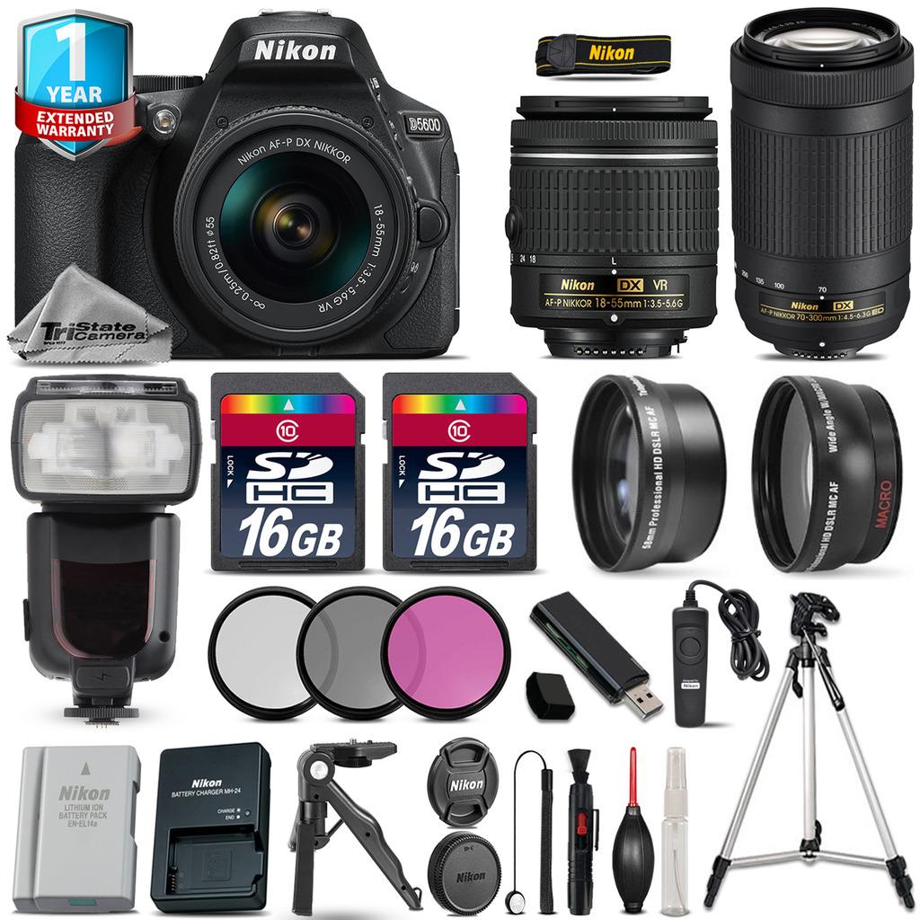 D5600 DSLR Camera + 18-55mm VR + 70-300mm + EXT BAT + Flash + 1yr Warranty *FREE SHIPPING*