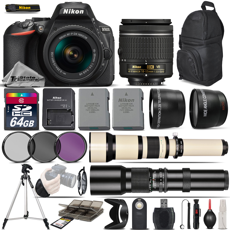 D5600 DSLR Camera + 18-55 AF P VR Lens + 650-1300mm Lens +500mm -5Lens Kit *FREE SHIPPING*