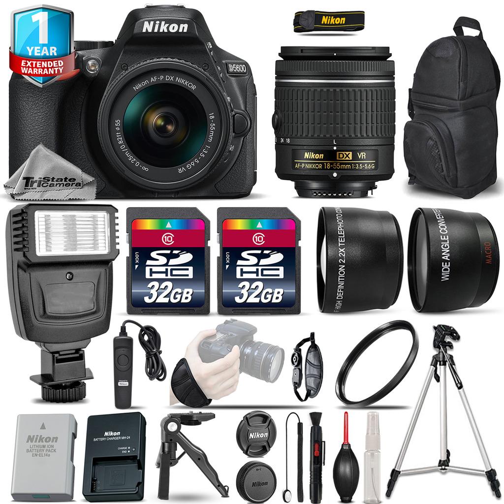D5600 DSLR Camera + 18-55mm VR - 3 Lens Kit + Flash + 1yr Warranty + 64GB *FREE SHIPPING*
