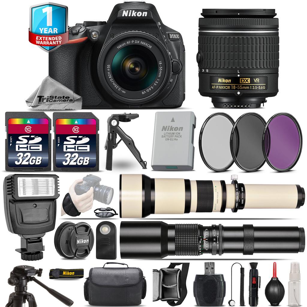 D5600 DSLR Camera + 18-55mm VR + 650-1300mm + 500mm + 1yr Warranty + 64GB *FREE SHIPPING*