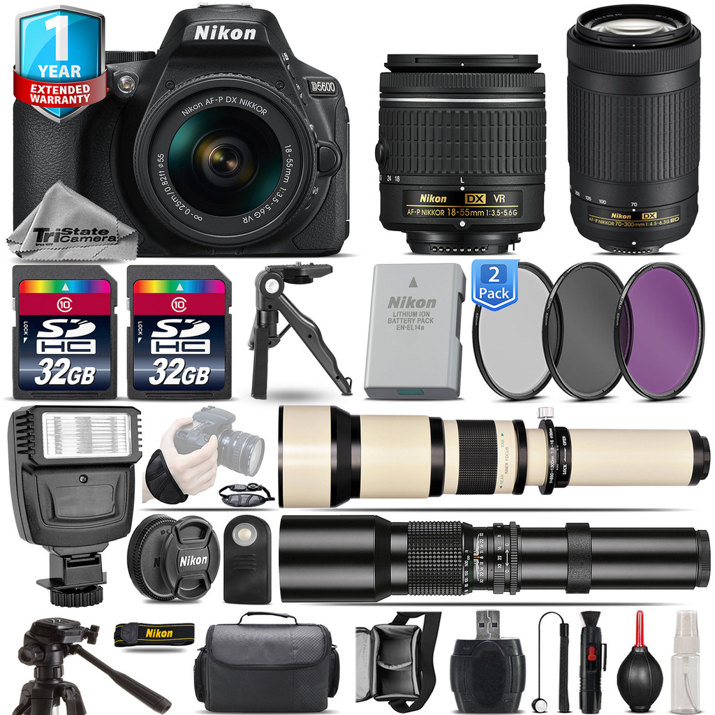 D5600 DSLR Camera + 18-55mm VR + 70-300mm + Flash + 1yr Warranty + 64GB *FREE SHIPPING*