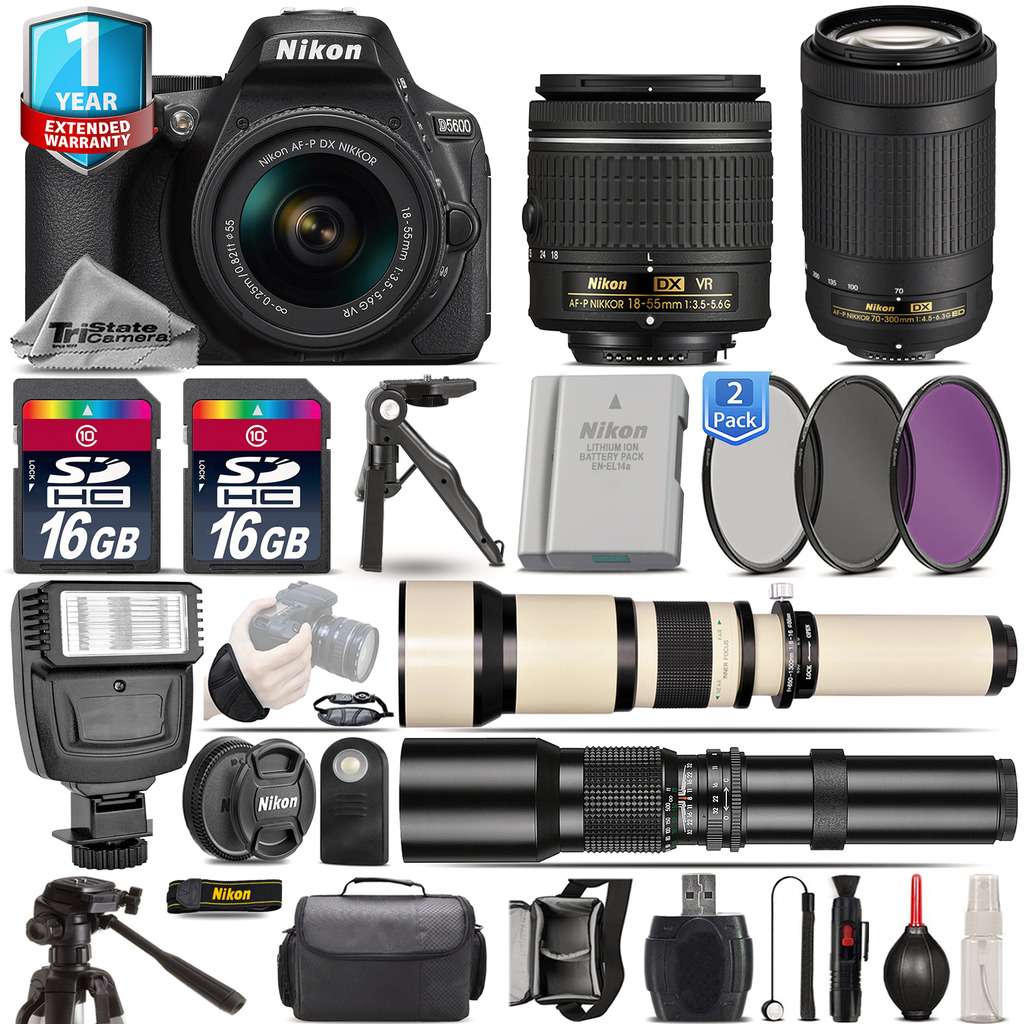 D5600 DSLR Camera + 18-55mm VR + 70-300mm + Extra Battery + 1yr Warranty *FREE SHIPPING*