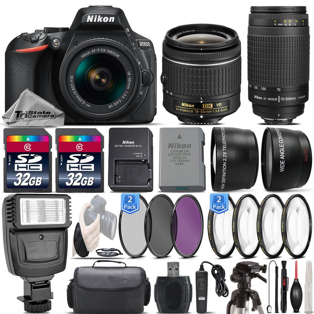 D5600 24.2MP DSLR Camera + 18-55mm VR Lens + Nikon 70-300mm Lens- 64GB Kit *FREE SHIPPING*