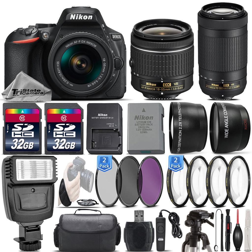 D5600 24.2MP Digital SLR Camera + 18-55mm VR + AF P 70-300mm VR - 64GB Kit *FREE SHIPPING*