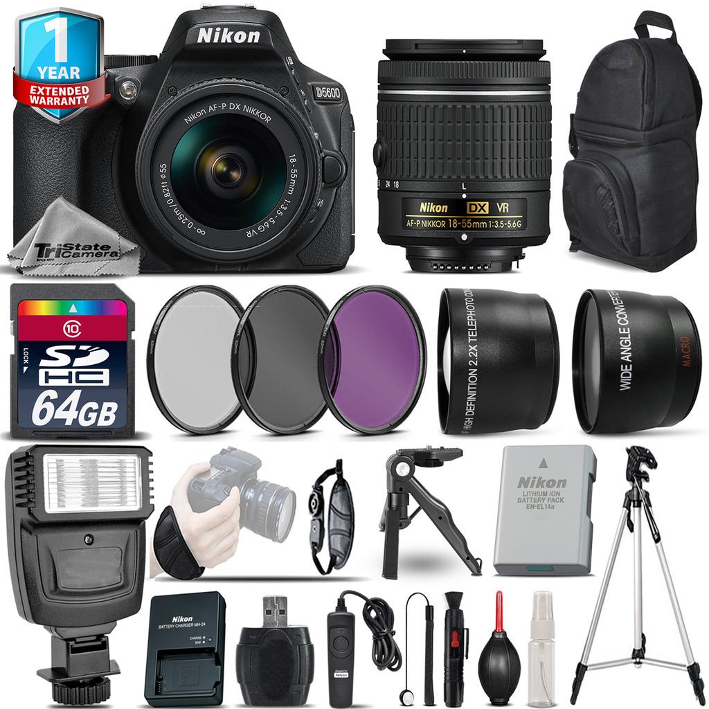 D5600 DSLR Camera + 18-55mm VR + 1yr Warranty + Filters + 64GB -Saving Kit *FREE SHIPPING*
