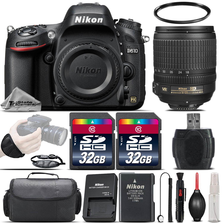 D610 Digital SLR 24.2MP Camera + 18-105mm VR Lens + Case - 64GB Kit *FREE SHIPPING*