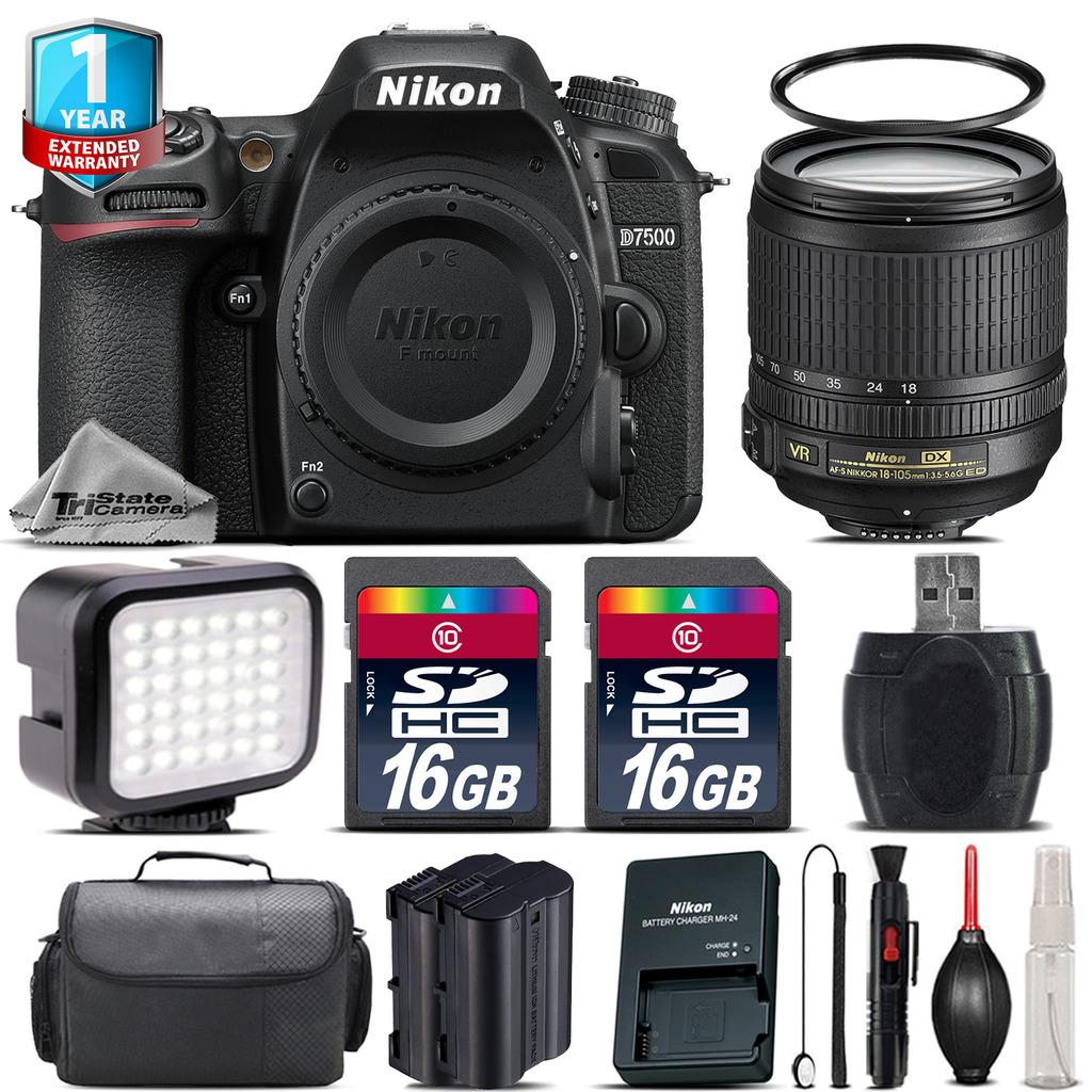 D7500 Camera + 18-105mm VR + LED + Extra Battery + 1yr Warranty + 32GB *FREE SHIPPING*