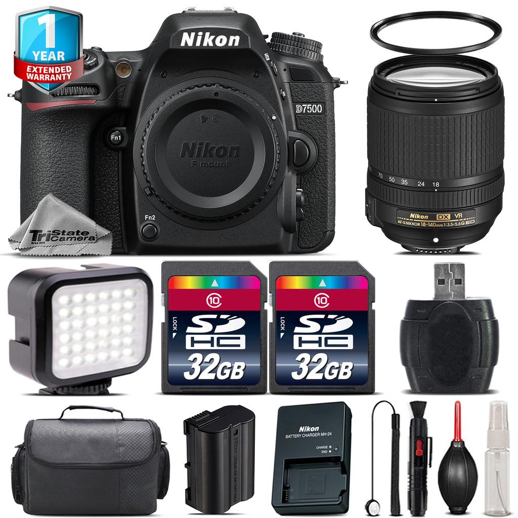 D7500 Camera + AFS 18-140mm VR + LED + Case + 1yr Warranty - 64GB Bundle *FREE SHIPPING*
